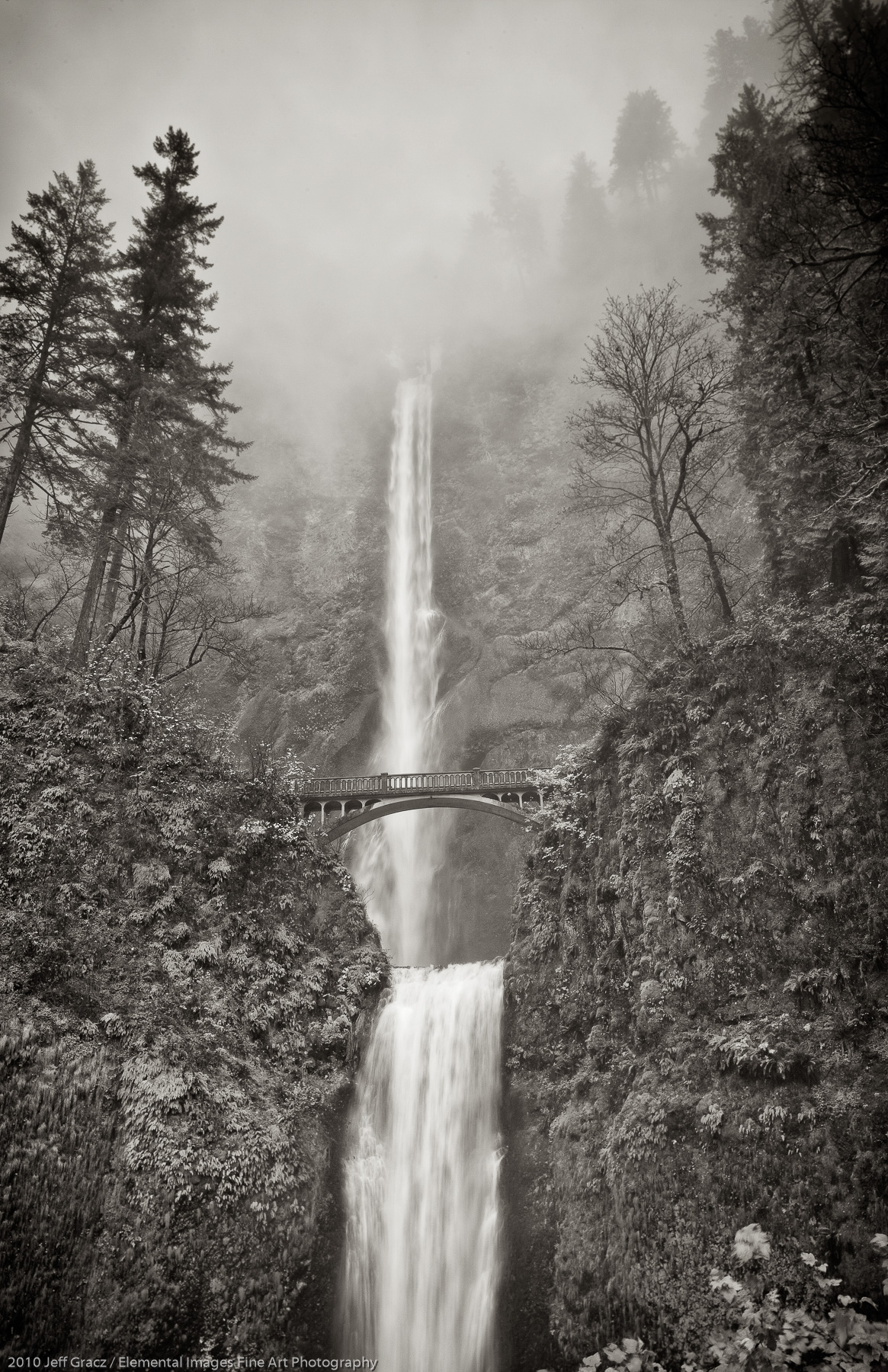Multnomah Falls in the Fog | Columbia River Gorge National Sc | OR | USA - © 2010 Jeff Gracz / Elemental Images Fine Art Photography - All Rights Reserved Worldwide