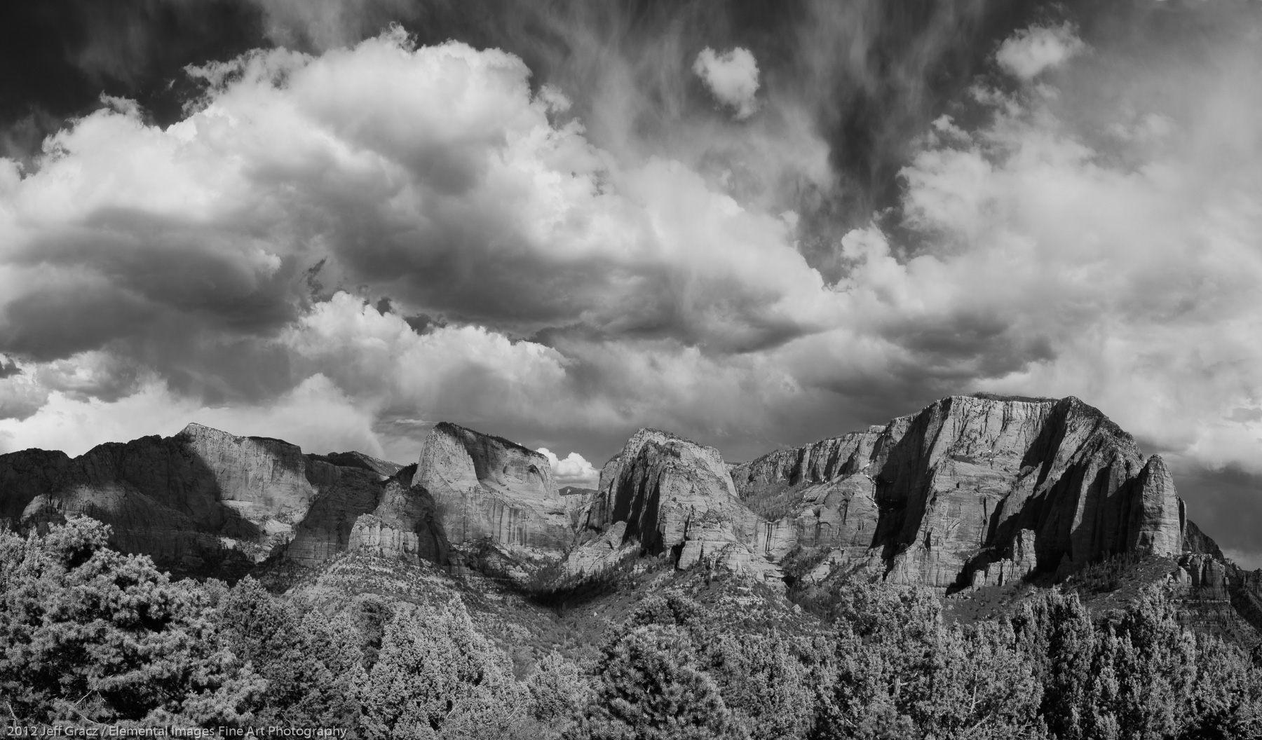Clouds over the Kolob Canyons   Zion National Park   UT   USA - © 2012 Jeff Gracz / Elemental Images Fine Art Photography - All Rights Reserved Worldwide