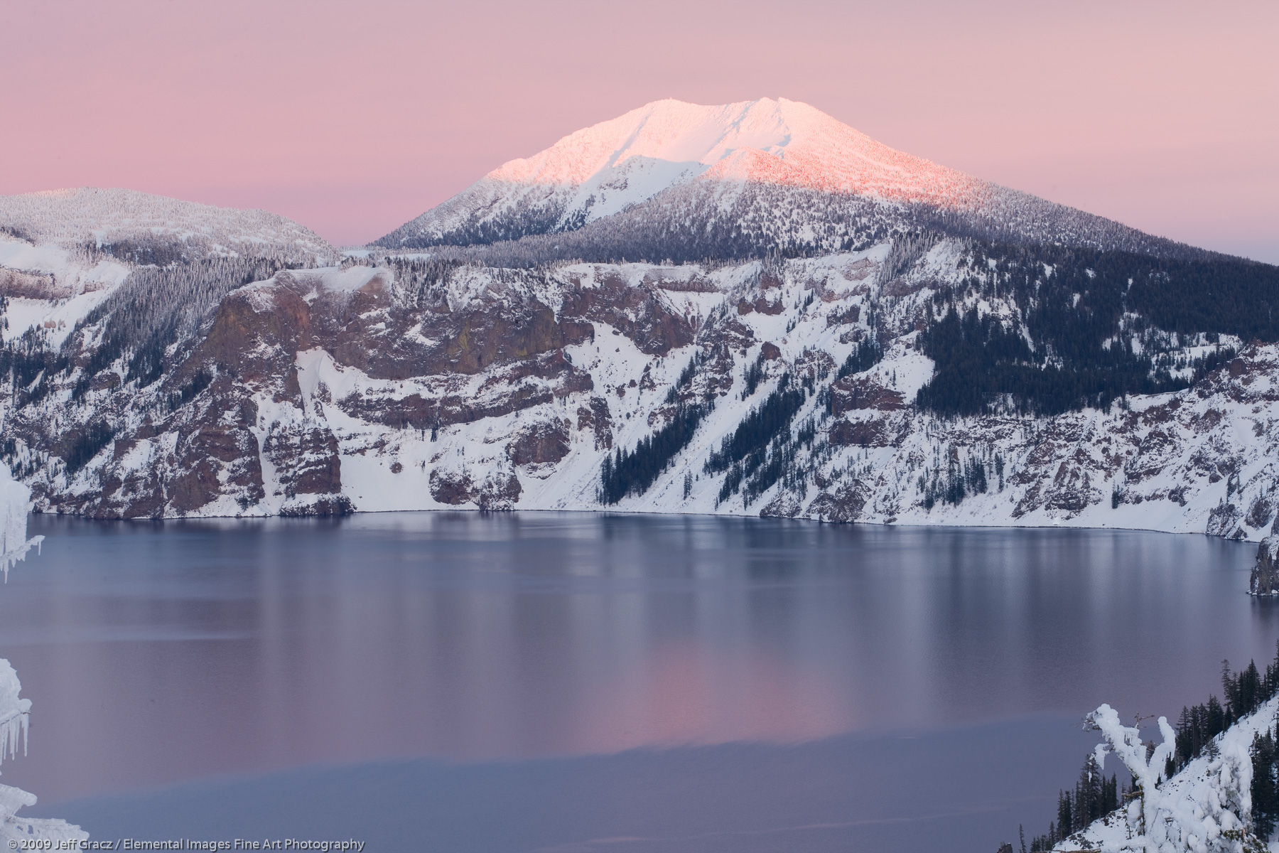 Mt Scott from Crater Lake in Evening Light | Crater Lake National Park | OR | USA - © © 2009 Jeff Gracz / Elemental Images Fine Art Photography - All Rights Reserved Worldwide