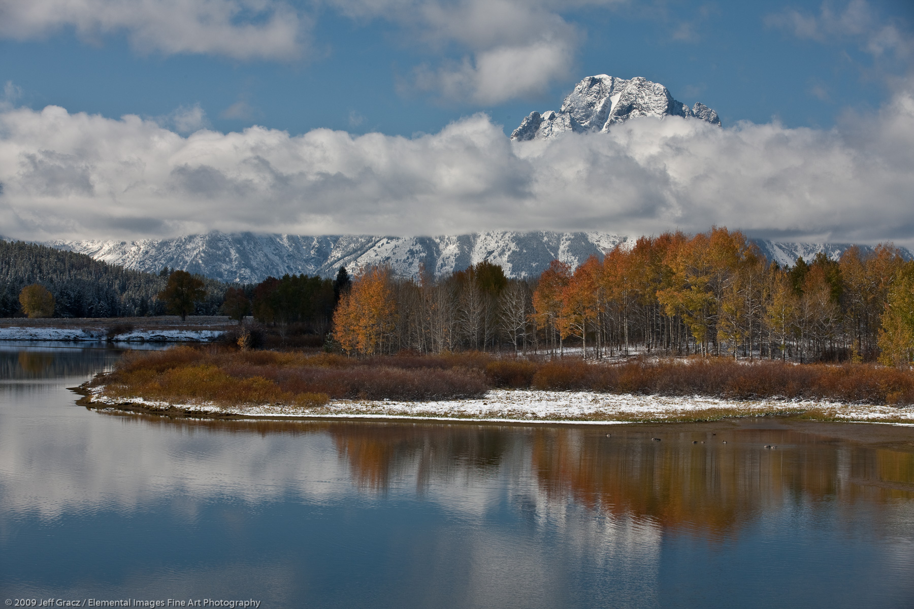 Mt Moran from Oxbow Bend | Grand Teton National Park | WY | USA - © © 2009 Jeff Gracz / Elemental Images Fine Art Photography - All Rights Reserved Worldwide