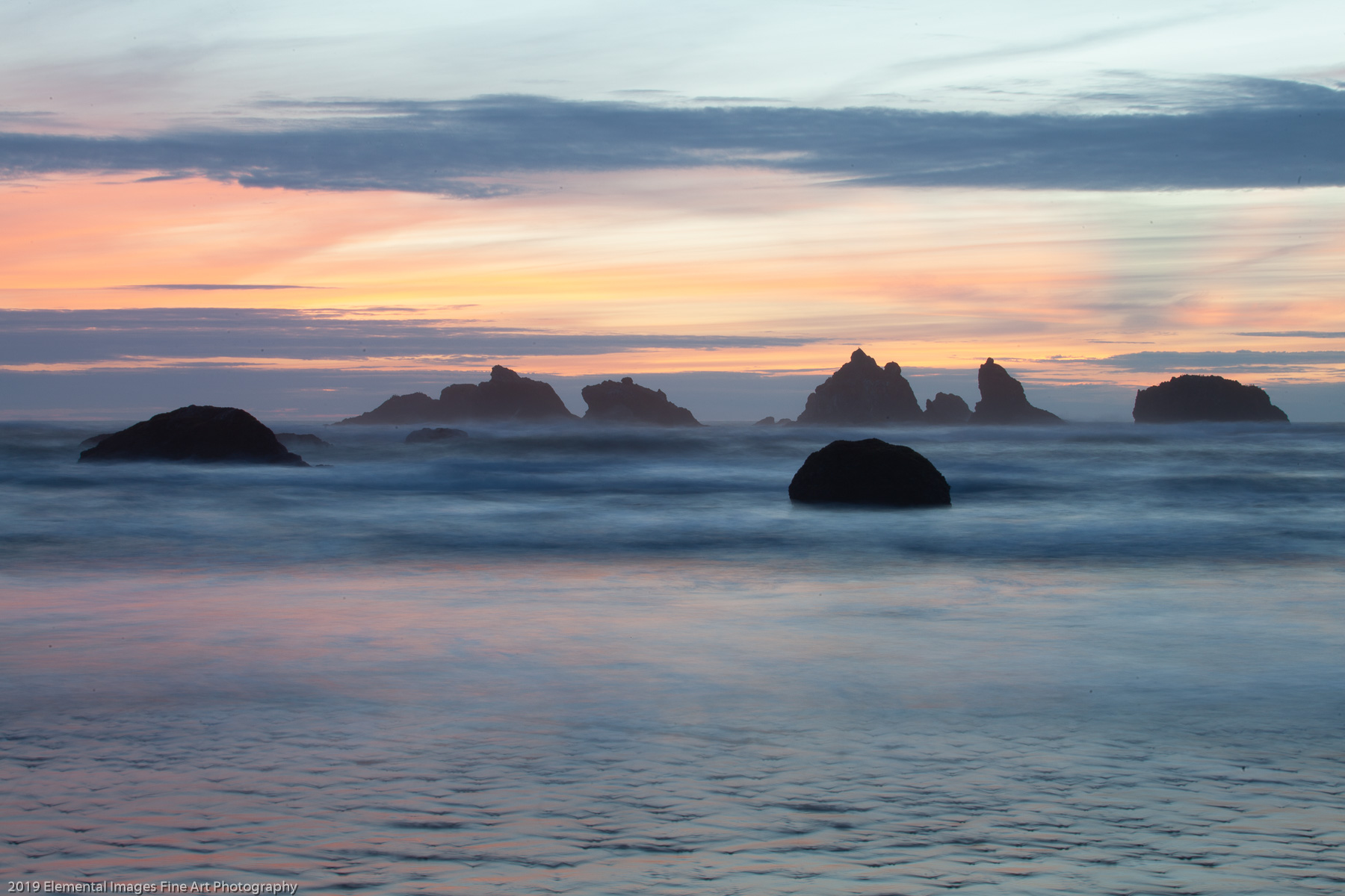 Pastel Sunset | Bandon | OR | USA - © 2019 Elemental Images Fine Art Photography - All Rights Reserved Worldwide