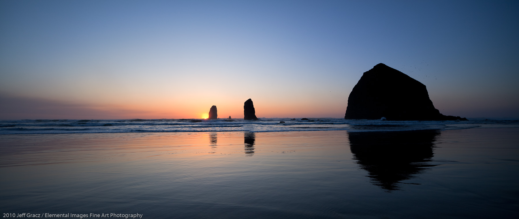 Cannon Beach seastacks at sunset | Cannon Beach | OR |  - © 2010 Jeff Gracz / Elemental Images Fine Art Photography - All Rights Reserved Worldwide