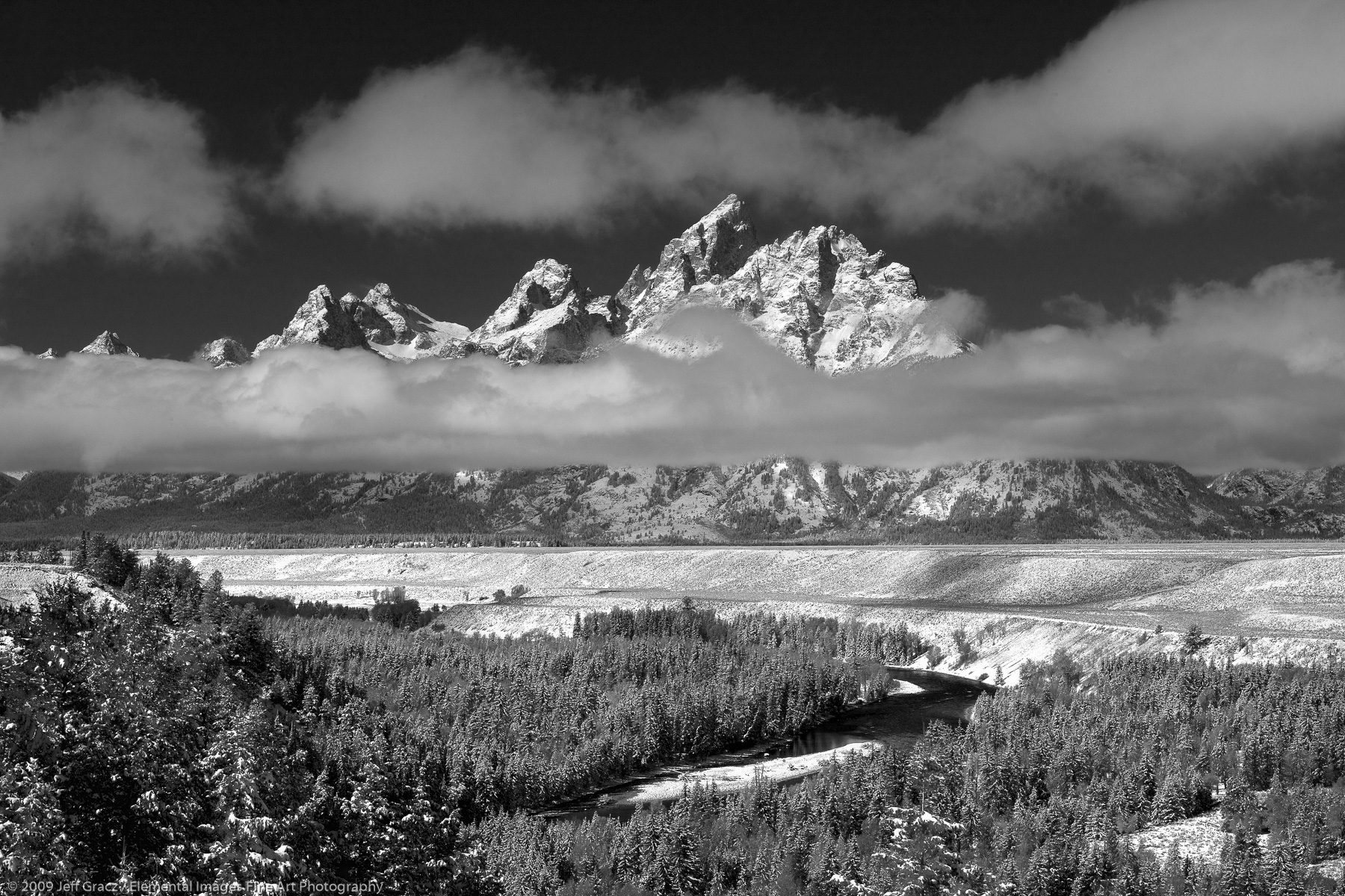 Grand Tetons in early winter   Grand Teton National Park   WY   USA - © © 2009 Jeff Gracz / Elemental Images Fine Art Photography - All Rights Reserved Worldwide